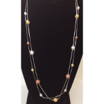 Two String Silver Tone Copper Gold Silver Ball Necklace