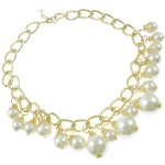 Boutique Gold Tone Lustrous White Pearl Statement Necklace