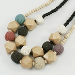 Mixed 1960's Mod Bohemian Necklace Dyed Lava Pumice Wood Bead