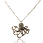 Silver Tone Realistic Octopus Pendant Rolo Chain Necklace