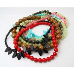 Mixed Natural & Dyed Solid Gemstone Bead Necklaces