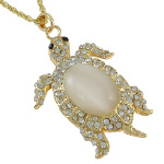 Gold Tone Cat&#39s Eye Cab & Rhinestone Turtle Pendant Necklace
