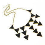 Art Deco Style Geometric Triangle Cab Bib Necklace ~ Black