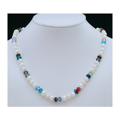 Freshwater Pearl & Multi-Colored Crystal Bead Necklace