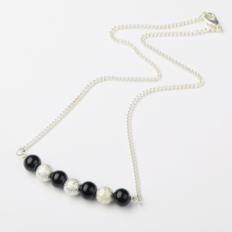 Silver Tone Black & Stardust Silver Bead Necklace