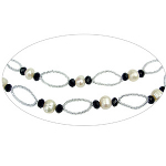 "47"" Long Freshwater Pearl Faceted Crystal & Seed Bead Necklace"