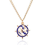 Blue & White Enamel Nautical Anchor Ship&#39s Wheel Necklace