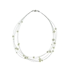 White Freshwater Pearl Steel Illusion Necklace