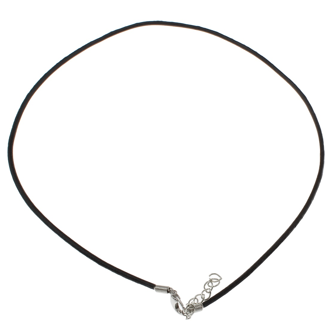 Adjustable Genuine Black Leather Necklace with Silver Tone Clasp