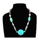 Turquoise & CCB Crescent Moon Silver Tone Bead Necklace