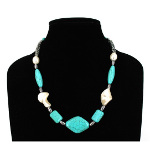 Turquoise & Ribbed CCB Silver Tone Bead Necklace