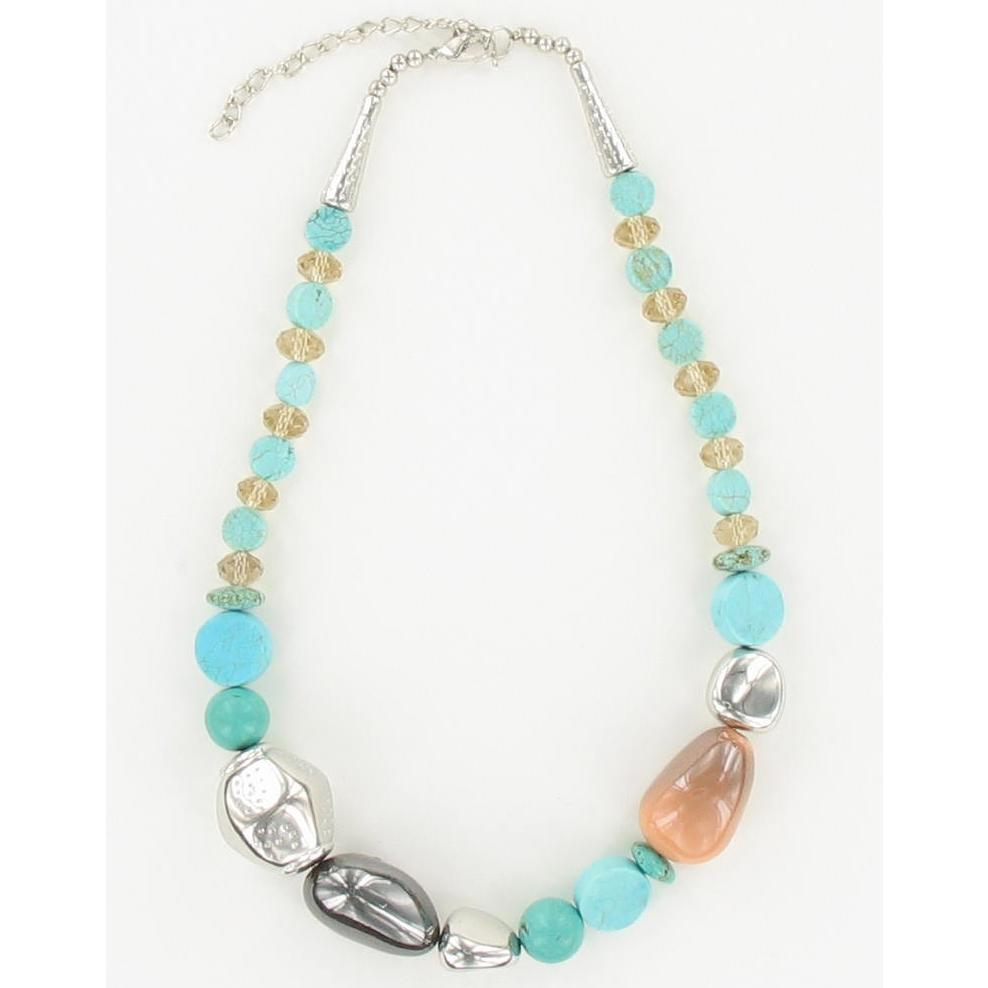 NKL-144i Turquoise & Faceted Glass Luster Beads Necklace