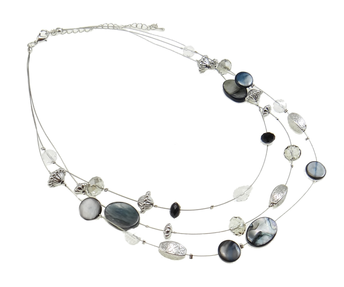 Iridescent Gray Shell CCB & Faceted Crystal Bead Necklace
