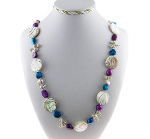 Freshwater Pearl & Striped Shell Bead Necklace Blue & Purple