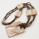 Hand-Strung Antiqued Gold Seed Bead & Lustrous Shell Necklace