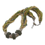 Boho Interwoven Multi Strand Pumice Lava Seed Bead Necklace