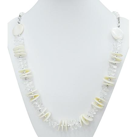 Modern White Shell & Faux Pearl Beaded Necklace