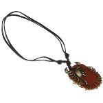 Adjustable Brown Leather Bronze Tone Scorpion Necklace