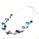 Silver Tone Shell & Faceted Crystal Bead Triple Strand Necklace