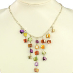 Multi Color Lustrous Shell Bead on Silver Tone Chain Necklace
