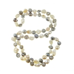 Freshwater Potato Striped Pearl Bead Necklace Black & White