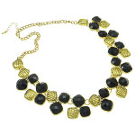 Elegant Modern Black Resin Cab & Gold Tone Metal Necklace