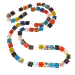 "47"" Long Retro Square Millefiori Art Glass Beads Necklace"