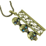 Bronze Tone Triple Skull Biker AB Rhinestone Necklace