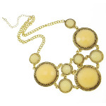 Art Deco Style Large Faceted Cab Gold Tone Bib Necklace