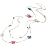 Retro Style Spaced Faceted Glass Bead Silver Tone Necklace