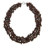 Genuine Gemstone Strung Chip Necklace ~ Mahogany Obsidian
