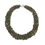 Genuine Gemstone Strung Chip Necklace ~ Unakite