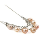 Silver Tone Necklace & Rhinestone Freshwater Pearl Charms