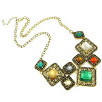 Modern Retro Style Faceted Resin Cab Bib Necklace Multi Color