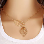 Reticulated Silhouette Leaf Necklace ~ Gold Tone