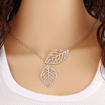 Reticulated Silhouette Leaf Necklace ~ Silver Tone