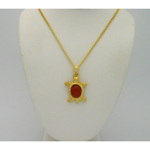 New Old Stock 1970's Gold Tone Figural Turtle Cornelian Necklace