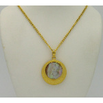 New Old Stock 1970&#39s Gold Tone Abalone Shell Medallion Neckla