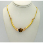 New Old Stock 1970&#39s Gold Tone Genuine Tiger&#39s Eye Necklac