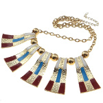 Boutique Gold Tone Southwestern Red White Blue Enamel Necklace