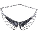 Boutique Silver Tone Beaded Angel Wings Necklace