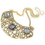 Boutique Gold Tone Faceted Rhinestone Filigree Necklace
