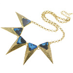 Boutique Gold Tone Art Deco Blue Luster Triangular Necklace