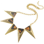 Boutique Gold Tone Art Deco Tortoise Luster Triangular Necklace