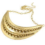 Gold Tone Rock Cone Studded Metal Bib Necklace