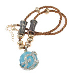 Braided Silk Necklace with Rhinestone Blue Cat's Eye Pendant