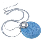 Silver Tone Mottled Blue & Silver Pendant Necklace