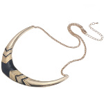 Boutique Gold Tone Black Enamel Art Deco Collar Necklace
