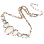 Boutique Gold Tone Faceted Clear Crystal Cluster Necklace