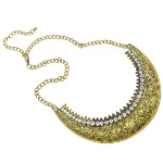 Regal Victorian Filigree & Rhinestone Studded Gold Tone Necklace